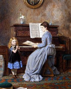 George Goodwin Kilburne (British, 1839 - 1924) - The Piano Lesson (1871)
