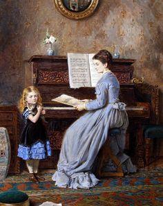 George Goodwin Kilburne (British, 1839 - 1924) - The Piano Lesson (1871)