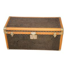 1930s Goyard Shoe Trunk Shoe Storage Trunk, Storage Chest, Golden Yellow Color, Nyc Studio, Trunks And Chests, Blanket Chest, French Brands, White Gloves, Canvas Leather