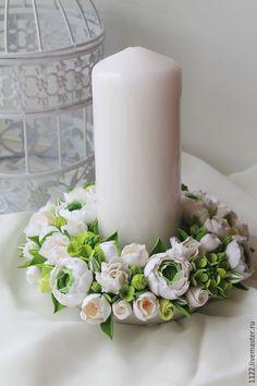 Купить Семейный очаг в салатовой гамме - салатовый, семейный очаг, Свечи, цветы из полимерной глины