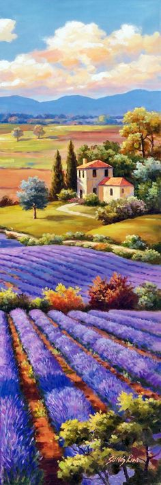 Sung Kim - Fields Of Lavender I fine art preproduction . Explore our collection of Sung Kim fine art prints, giclees, posters and hand crafted canvas products Watercolor Landscape, Landscape Art, Landscape Paintings, Watercolor Paintings, Art Abstrait, Beautiful Paintings, Painting Inspiration, Folk Art, Art Drawings