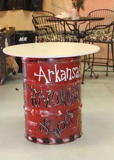 Arkansas Razorback Barrel Table by MaCoZaOriginals on Etsy. , via Etsy.