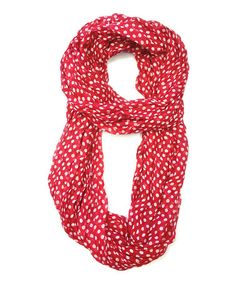 Love this Red & White Polka Dot Infinity Scarf by East Cloud on #zulily! #zulilyfinds