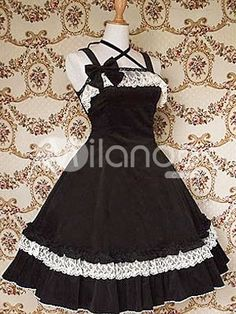 Cotton Black Lace Bow Cotton Classic Lolita Dress $57.99