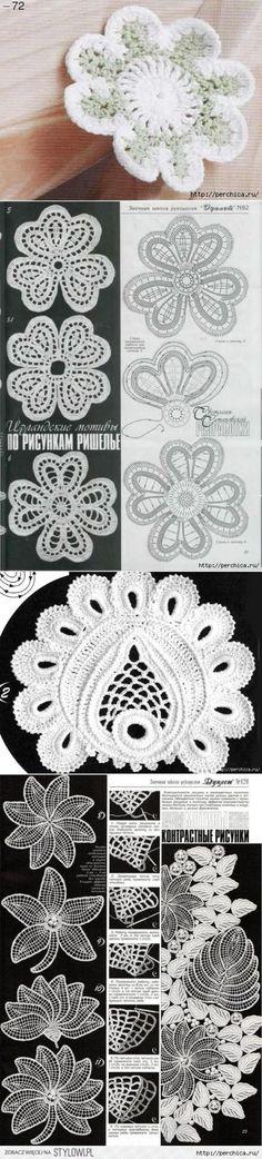 Схемы цветов и листьев ирландского кружева | Вязание | Постила
