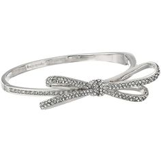 Kate Spade New York Tied Up Pave Hinge Bangle Bracelet, Silver ($71) ❤ liked on Polyvore featuring jewelry, bracelets, silver, bangle bracelet, silver hinged bracelet, charm jewelry, silver bangles and kate spade bangle