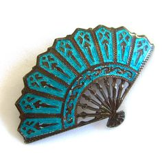 Vintage Siam Brooch Sterling Silver Turquoise Enamel Niello Fan Pin 1940s Antique Jewelry by BuyVintageJewelry, $35.00