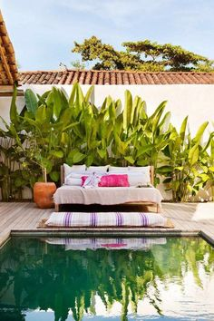 If you are fortunate enough to have a swimming pool in your backyard, you will want to maximize the design of that space with a cozy pool seating area. You may have a lot of space available near your pool… Continue Reading → Outdoor Pool, Outdoor Spaces, Outdoor Living, Outdoor Decor, Piscine Diy, Pool Diy, Terraced Landscaping, Tropical Pool, Tropical Plants