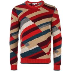 Salvatore Ferragamo stripped jumper ($1,790) ❤ liked on Polyvore featuring men's fashion, men's clothing, men's sweaters, red, mens colorful sweaters and mens red sweater