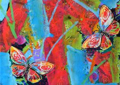 Butterfly painting original acrylic painting blue art