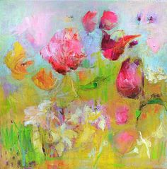 DAFODILS and TULIPS Original Abstract Painting on Stretched Canvas 10 x 10