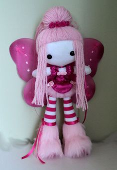 pink haired fairy rag doll