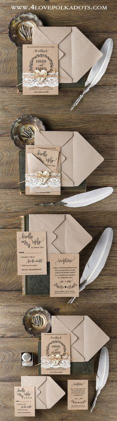 Rustic Lace Wedding Invitations      @4lovepolkadots