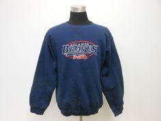 Vtg 90s Logo Athletic Atlanta Braves Crewneck Sweatshirt sz L Large SEWN MLB #LogoAthletic #AtlantaBraves  #tcpkickz