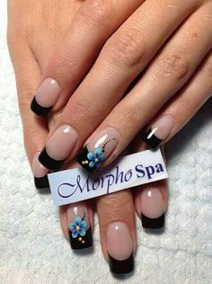 Ideas French Manicure Designs Summer Black For 2019 French Nail Designs, Colorful Nail Designs, Nail Polish Designs, Nail Art Designs, Fabulous Nails, Gorgeous Nails, Pretty Nails, Flower Nails, Beautiful Nail Art