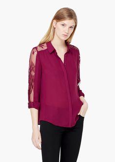 Blusa panel blonda - Camisas de Mujer   MNG