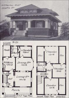 vintage craftsman house  | 1908 Bungalows by V. W. Voorhees of SEattle