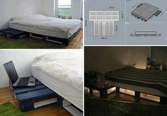 Home Design palets Wood Pallet Beds, Diy Pallet Bed, Diy Pallet Furniture, Diy Pallet Projects, Pallet Bedframe, Wood Pallets, Wooden Slats, Pallet Ideas, Home Deco