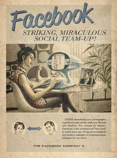 affiche facebook retro vintage Facebook et Twitter dans les années 60, ça aurait donné quoi ?