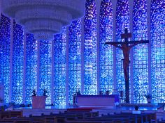 Santuário Dom Bosco, Brasília, Brazil The Most Beautiful Stained Glass in the World - Condé Nast Traveler Stained Glass Church, Modern Stained Glass, Stained Glass Art, Stained Glass Windows, Mosaic Glass, Mosaic Mirrors, Mosaic Wall, Beautiful Architecture, Art And Architecture