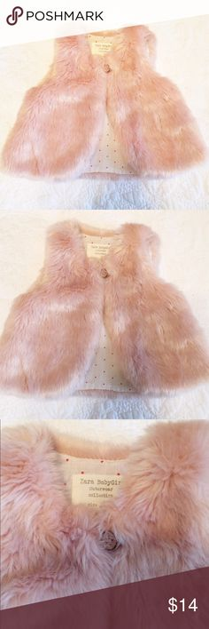 NEW ZARA FUR VEST 6-9 MONTHS never worn!! pink fur!  i will bundle items from my closet for a discounted price!! Zara Jackets & Coats Vests