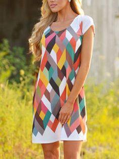 Diamond Print Shift Multicolor Dress