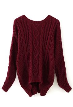 Wine Red Cable Knit Sweater - sale - Retro, Indie and Unique Fashion
