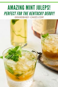 Made with a homemade mint simple syrup and smoky bourbon, this classic cocktail is the perfect way to cool off for the Kentucky Derby or anytime this Spring. #mintjulep #kentuckyderby #cocktail #mint #mocktail #springcocktail Drinks Alcohol Recipes, Yummy Drinks, Cocktail Recipes, Drink Recipes, Alcoholic Beverages, Cold Drinks, Dessert Recipes, Spring Cocktails, Classic Cocktails