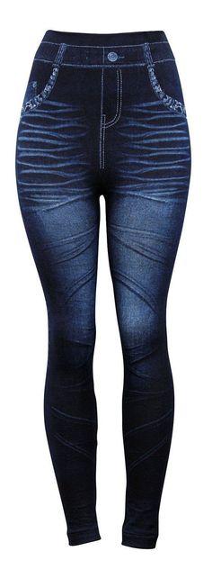Fashion Jeggings Jeans Look Printed Leggings Women's Pants Stretchy Skinny #3 | eBay