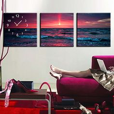 moderne stijl de zee wandklok in canvas 3pcs – EUR € 54.54