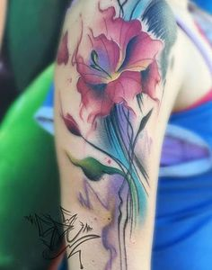 Gladiolus Watercolor Tattoo  #Armtattoos, #Floraltattoos, #Girls, #Watercolortattoos