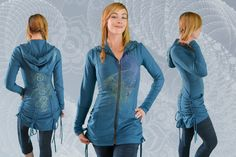 Sustainable clothing for men and women. Ethically made in BC, Canada from bamboo, organic cotton and hemp fabric. Hand printed with original art. Hemp Fabric, Sustainable Clothing, Spirals, Bustle, Sacred Geometry, Chakras, Organic Cotton, Bamboo, Yoga