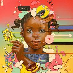 Kayla Mahaffey (@kaylamay_art) • Instagram photos and videos Aerosol Paint, Pop Culture Art, Black Girl Art, Afro Art, Black Artists, Colorful Paintings, Color Stories, Art Studies, Tag Art