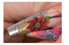 Poinsettia Flower Nail Art   NSI Attraction Acrylic Tutorial