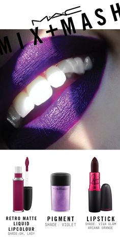 Created using VIVA GLAM Ariana Grande Lipstick, Lip Pencil in Nightmoth, Retro Matte Liquid Lipcolour in Oh, Lady and Pigment in Violet.