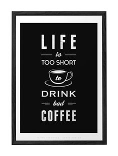 Life is too short to drink bad coffee. Coffee print kitchen decor kitchen art Coffee poster Coffee quote print Retro print typographic print - Latte Design  - 1