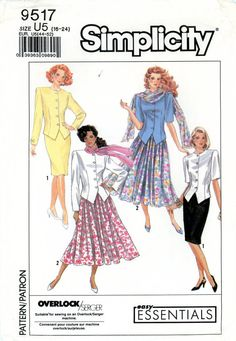 Vintage Sewing Pattern - 1989 Misses Skirts, Unlined Jacket, and Scarf, Simplicity 9517 Sizes16-24