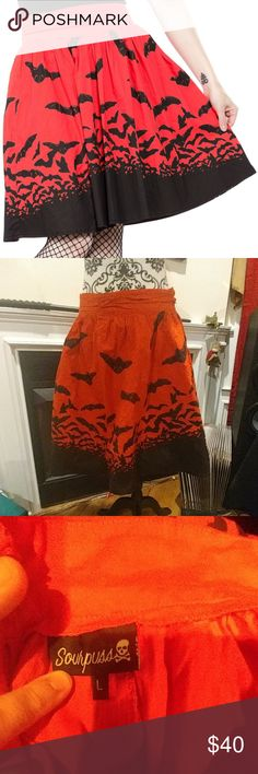 Sourpuss Spooksville Bats Red Skirt Be spooky all year round in this excellent bat skirt from Sourpuss. Originally purchased from Modcloth. Worn twice by me. Washed cold and hung dry. Excellent used condition. Waist measures 15 inches flat, some stretch. Cotton blend. Sourpuss Clothing Skirts A-Line or Full