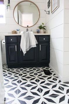 Espejo de baño redondo Painting Linoleum Floors, Linoleum Flooring, Diy Flooring, Painted Floors, Painting Cabinets, Kitchen Flooring, Plywood Floors, Diy Concrete Stain, Stained Concrete