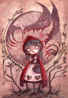 Little Red Riding Hood its like tim burton style illustration and I love his… Art Tim Burton, Estilo Tim Burton, Tim Burton Style, Red Hood, Desenhos Halloween, Red Ridding Hood, Art Manga, Big Bad Wolf, Arte Horror