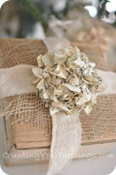 pretty - burlap, linen, cardboard & sheet music