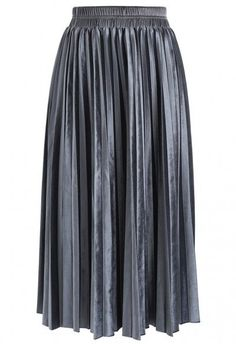 Inviting Sheen Velvet Pleated Skirt in Grey - Retro, Indie and Unique Fashion Velvet Pleated Skirt, Pleated Skirts, Blue Velvet Fabric, Hijab Style, Led Dress, Dusty Blue, Preppy Style, Unique Fashion, Blue Fashion