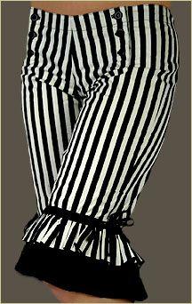 Tribe Nawaar Wild Card Black And White Stripe Retro Bloomers Vaudeville Knickers Circus Pants Capri Length As Seen On Zoe Jakes & Rachel Bri. Steampunk Circus, Steampunk Costume, Steampunk Clothing, Steampunk Fashion, Clown Pants, Dark Circus, Ruffle Bloomers, Lolita, Couture