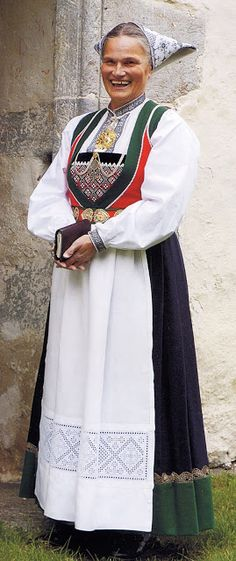 Hello all, Today I will cover the last province of Norway, Hordaland. This is one of the great centers of Norwegian folk costume, hav. Folk Costume, Costumes, Traditional Outfits, Norway, Ethnic, Bell Sleeve Top, Sari, Culture, Embroidery