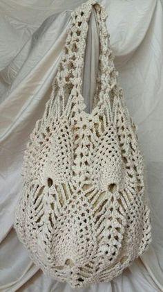 Crochet Bags Designs Crochet Pineapple Bag by aliabklynhandmade on Etsy - Bag Crochet, Crochet Market Bag, Crochet Shell Stitch, Crochet Handbags, Crochet Purses, Bag Patterns To Sew, Sewing Patterns, Crochet Patterns, Sombrero A Crochet