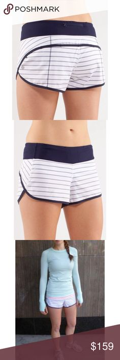 Lululemon Speed Shorts-Quiet Stripes Indigo, Sz 4 Lululemon Speed Shorts-Quiet Stripes White/Indigo, Size 4  Super cute and brand new with tags! ☺ Lulu speed shorts in rare Quiet Stripes White/Indigo print (white and navy). Zipper pocket in back with two small interior waistband pockets.  2-way stretch. Release date, 1/2012. Note: Rude/harassing comments about pricing will result in you being blocked and maybe reported. Please keep it friendly. Thanks! ☺👍 lululemon athletica Shorts