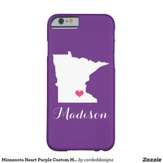 Minnesota Heart Purple Custom Monogram Barely There iPhone 6 Case