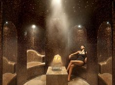 Amethyst Crystal Steam Room at The Oriental Spa // The Landmark Mandarin Oriental, Hong Kong. - Tap the link to shop on our official online store! You can also join our affiliate and/or rewards programs for FREE! Spa Design, Massage Room, Spa Massage, Saunas, Pool Spa, Sauna Hammam, Spa Hotel, Sauna Room, Spa Rooms