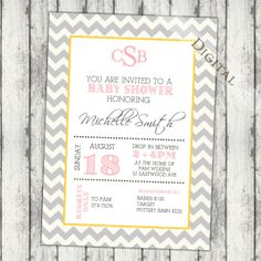 pink yellow gray baby shower | Monogram Baby shower Invitation, pink yellow and grey, gender neutral ...