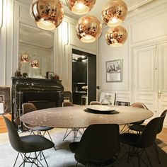 """black and white dining room--love the rose gold orb """"chandelier"""""""